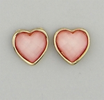 pierced Earring gold posted pink stone heart