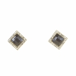 pierced earring gold square black crystal square small crystal accents