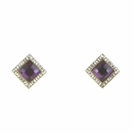 pierced earring gold square purple crystal square small crystal accents