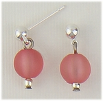 pierced earring silver ball with ring and matte pink ball drop