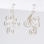 pierced earring silver ball with ring and swirl drop