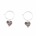 pierced earring silver continuous hoop red white blue heart white bead