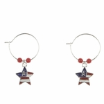 pierced earring silver continuous hoop red white blue star flag