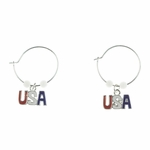pierced earring silver continuous hoop red white blue USA white beads
