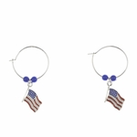 pierced earring silver continuous hoop rippled US flag blue beads