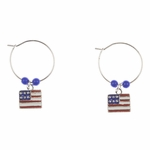 pierced earring silver continuous hoop square US flag blue beads