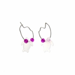 Earring silver continuous hoop with fuchsia beads and crystal turtle