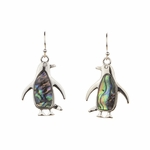 pierced earring silver French hook abalone penguin