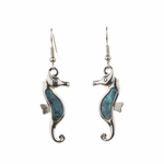 pierced earring silver French hook abalone seahorse