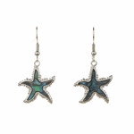 pierced earring silver French hook abalone starfish