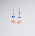 pierced earring silver French hook blue and orange marble beads