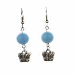 pierced earring silver French hook blue bead antique butterfly