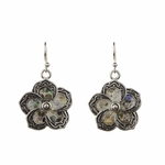 Pierced Earrings silver French hook flower with shell petals