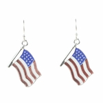 pierced Earring silver French hook red whit blue American flag