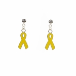 Pierced Earring Silver posted ball with ring yellow ribbon