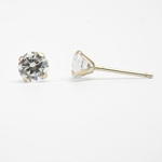 Pierced earrings 14kt prong setting 4mm round cubic zirconia