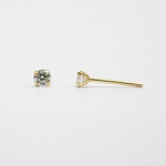 pierced earrings 14Kt gold posted Cubic Zirconia round 3mm