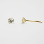 pierced earrings 14Kt gold posted Cubic Zirconia square 3mm