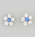 pierced earrings 14Kt gold posted Flower small blue crystal center
