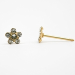 pierced earrings 14Kt gold posted Flower small crystal