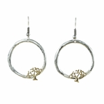 pierced earrings antique silver French hook ring with gold tree of life