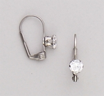 Pierced earrings euro clasp lever back Cubic Zirconia prong setting 5mm