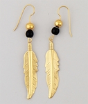 pierced earrings Gold beaded feather with black bead