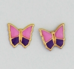 pierced earrings Gold Butterfly purple and pink