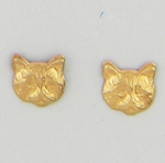 pierced earrings Gold Cat Head tiny