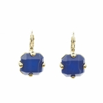 pierced earrings gold euro clasp blue square