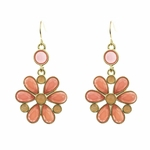 pierced earrings gold French hook coral flower drop
