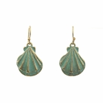 pierced earrings gold French hook patina shell drop