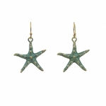 pierced earrings gold French hook patina starfish drop