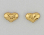 Pierced earrings Gold Heart large puffed