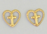 pierced earrings Gold Heart small with cross