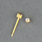 Pierced earrings gold posted 5 Prong 2mm April Birthstone