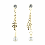 pierced earrings gold posted crystal bezel with pearl and clover chain drops