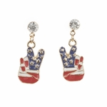 pierced earrings gold posted crystal red white blue peace hand drop