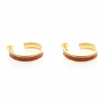 Pierced earrings Gold posted Hoop large thin band red