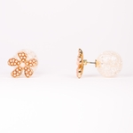 pierced earrings gold posted peach flower crackle ball double sided