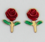 pierced earrings Gold posted Rose red with green stem