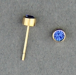 pierced earrings Gold posted stud 3mm September Birthstone