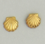 Pierced earrings Gold Seashell tiny