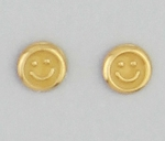pierced earrings Gold Smile face yellow tiny