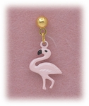 Pierced earrings posted Gold ball with Flamingo Pink enamel