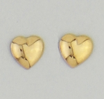pierced earrings posted Gold Heart puffed
