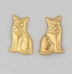 pierced earrings posted Gold sitting cat