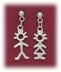 pierced earrings posted silver ball with boy charm