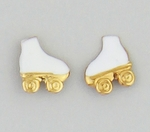 Pierced earrings posted White Roller Skates with Gold wheels