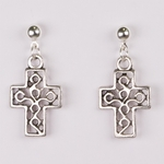pierced earrings silver ball with ring antique silver cross drop